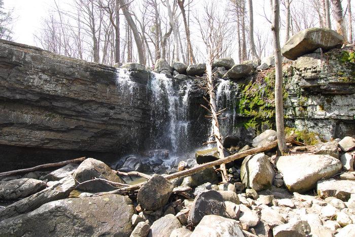 Waterfalls, Moving, Water, Rocks, Rock, formations, Camping, in, Jim, Thorpe, PA, Ringing, Park, LOC00133