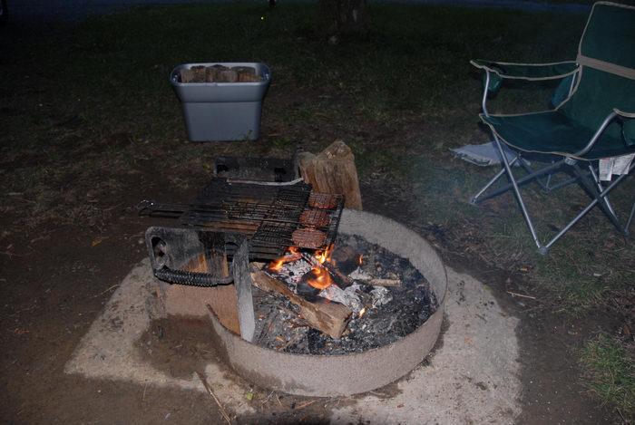 Spruce Run Recreation Area, camping, fire, fire ring, food, hamburger, night