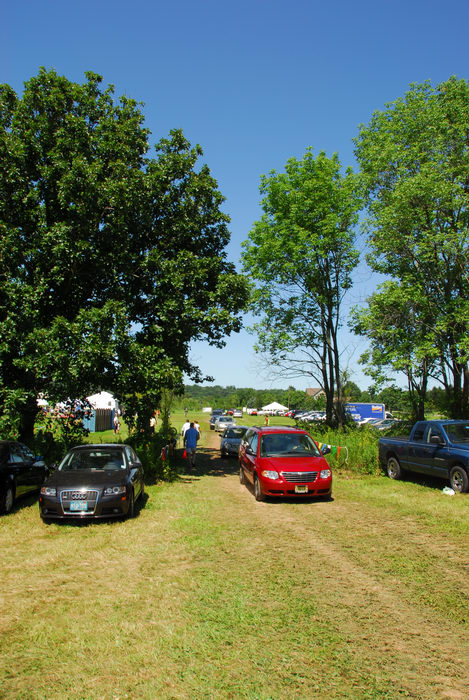 blue sky, cars, field, grass, parking, trees