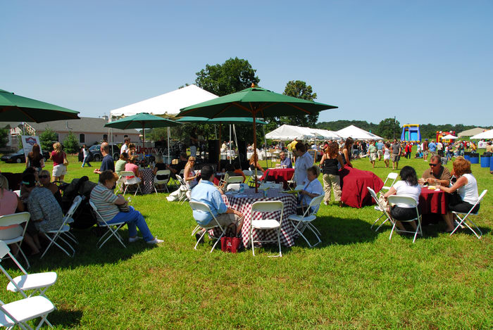 canopy, eating area, festival, field, grass, tables
