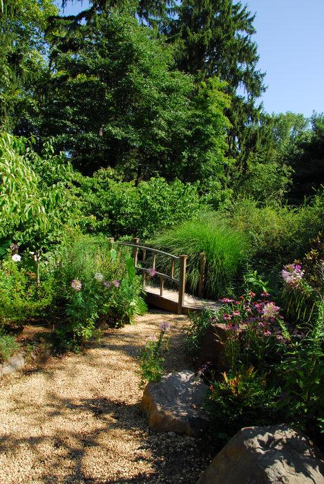 beautiful landscaping, bridge, flower, garden, path, rocks, tree, woods