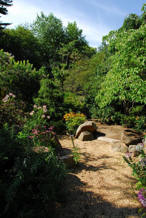 beautiful landscaping, garden, path, rocks, tree, woods