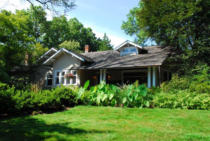 Sayen House, beautiful landscaping, grass, tree, woods