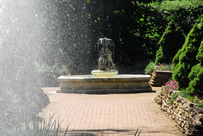 fountain, path, sculpture