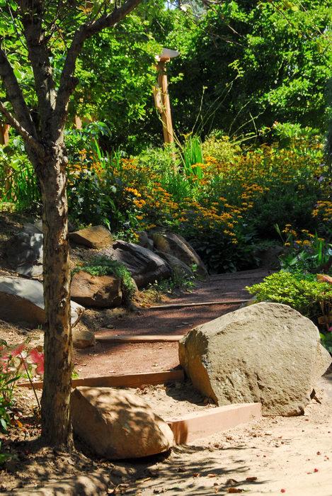 beautiful landscaping, flower, garden, path, rocks
