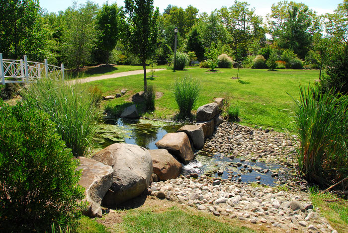 beautiful landscaping, bridge, grass, rocks, tree, water