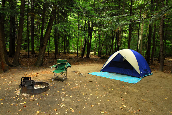 camping, campsite, firering