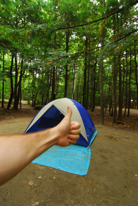 Thumbs across America, camping, campsite