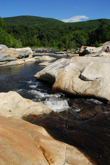 blue sky, rocks, water