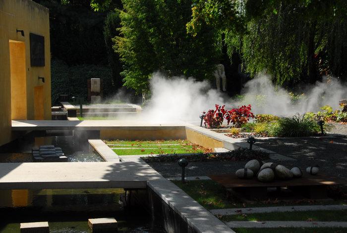 Sculptures, mist, trees, water