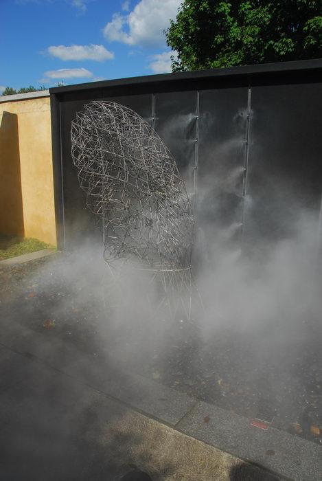 blue sky, mist, sculpture