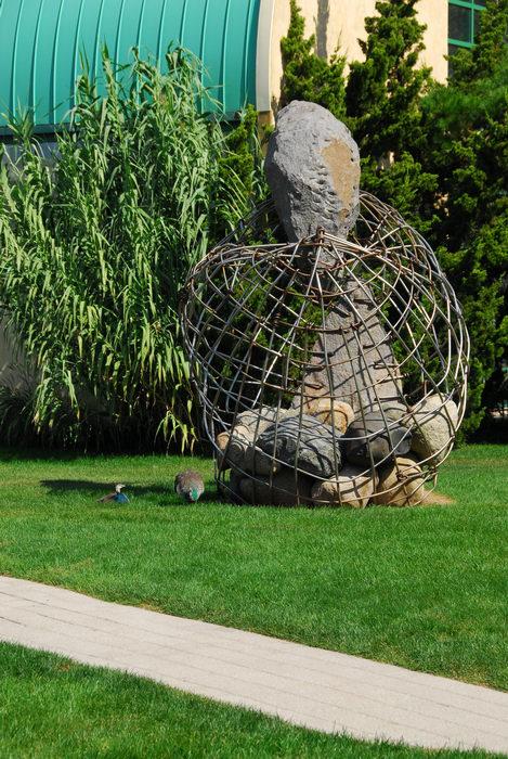 Sculptures, grass