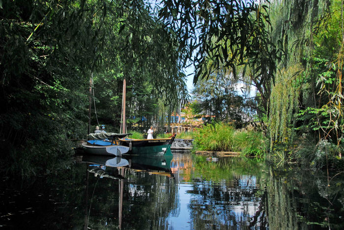 Sculptures, boat, reflection, trees, water