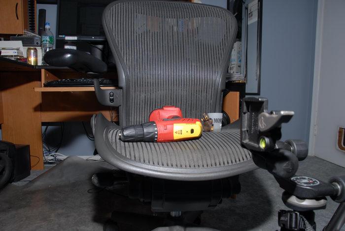chair, desk, drill