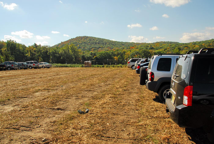 cars, field, hills, parking
