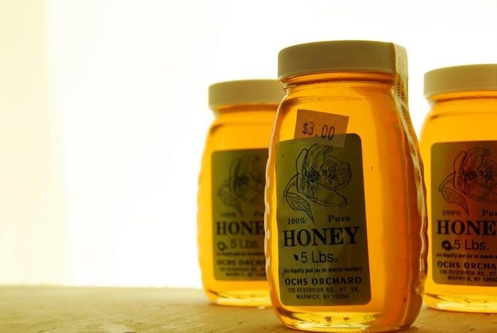 glass jar, honey