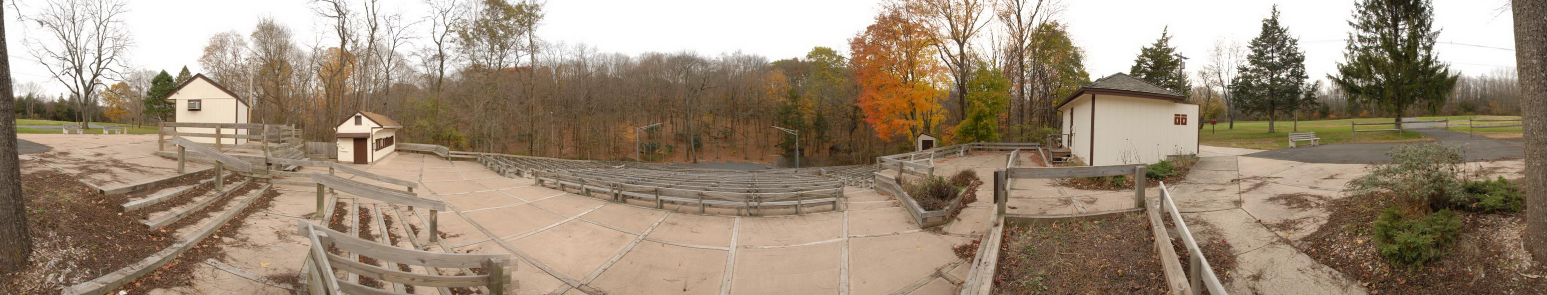 fall colors, open air theater, panoramic, seating, stage, theater