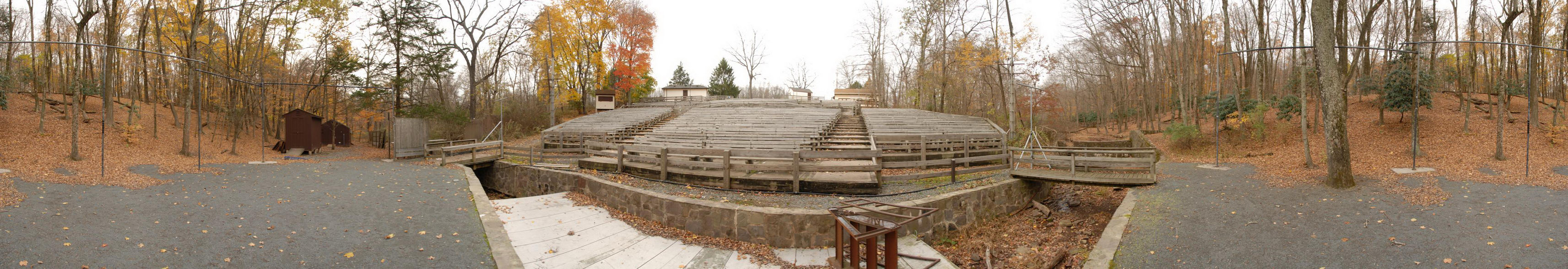 fall colors, open air theater, panoramic, stage