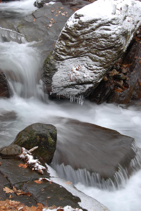 My Favorite Pictures, moving water, rocks, snow, stream, trees, water