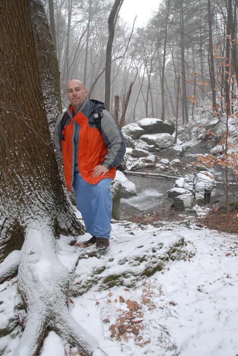 Jeff Conklin, moving water, rocks, snow, stream, trees, water