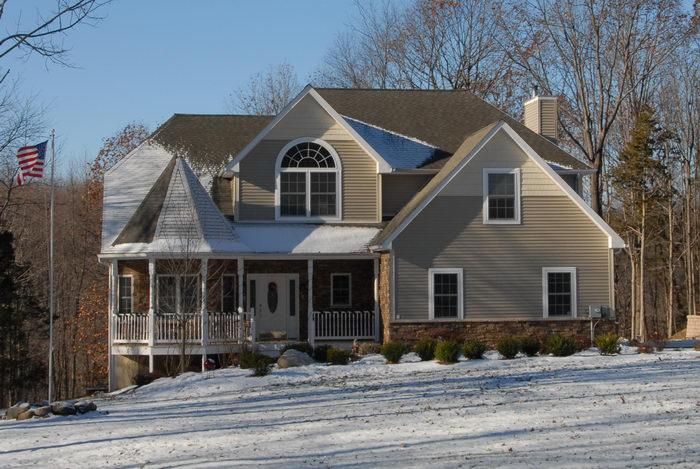 house, snow, trees