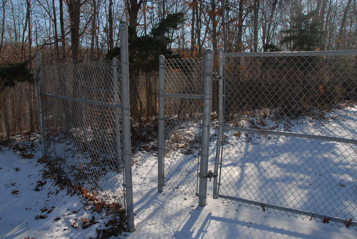 entrance, fence, gate, snow, trees