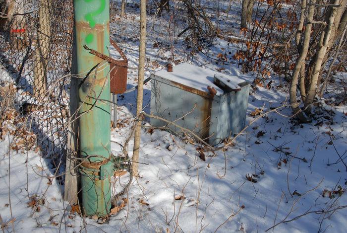 gate opener, snow, trees