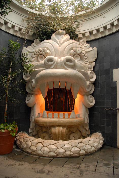 fountain, lights, sculpture