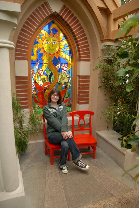 brick, chair, friends, stained glass