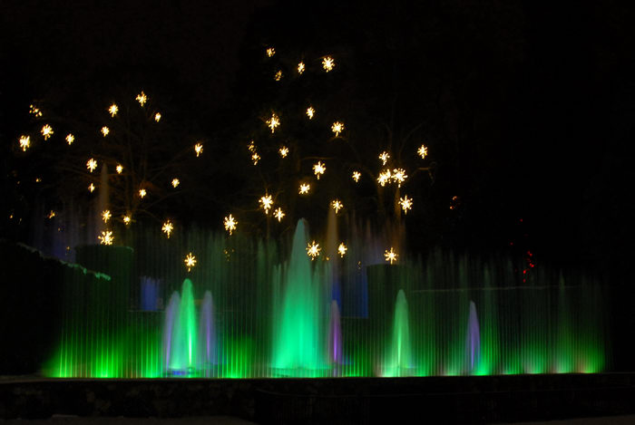 fountains, lights, nighttime, ornament