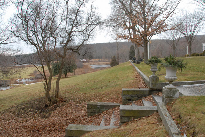 grass, landscape, ponds, stairs, trail, water