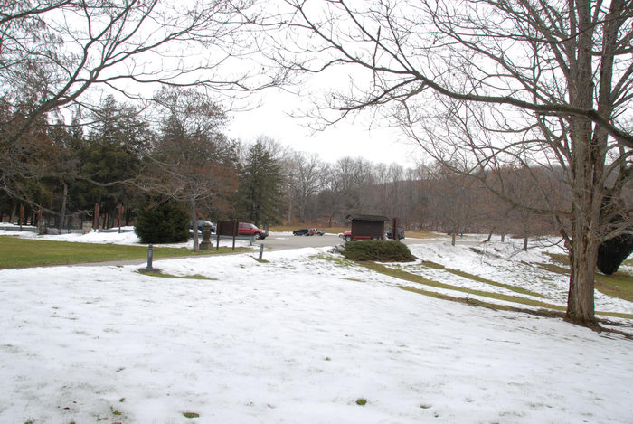 grass, landscape, parking lot, snow, trees
