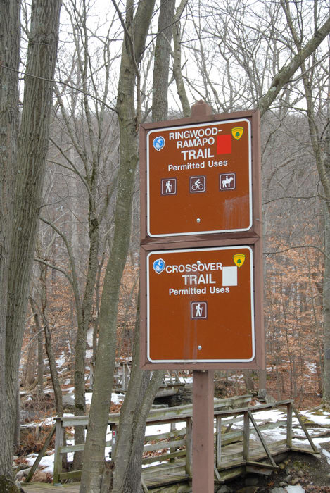 snow, trail sign, trees, woods