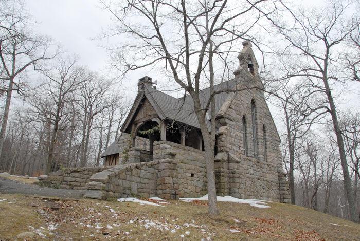 building, church, snow, trees