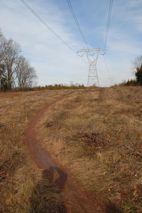 grass, mud, path, powerline, stream, trail, water