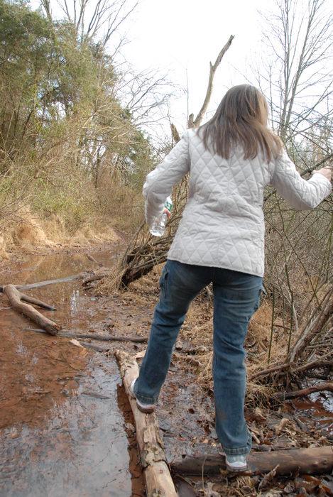 Jaimi, friend, mud, stream, trees, water, woods
