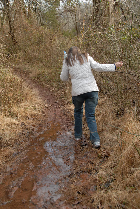 Jaimi, friend, ground cover, mud, path, stream, trail, water, woods