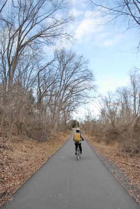 bike, bike path, blue sky, path, people, road, trail, trees