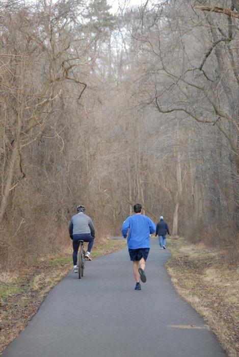bike, bike path, path, people, road, trail, trees