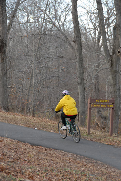 bike, bike path, path, people, road, sign, trail, trees