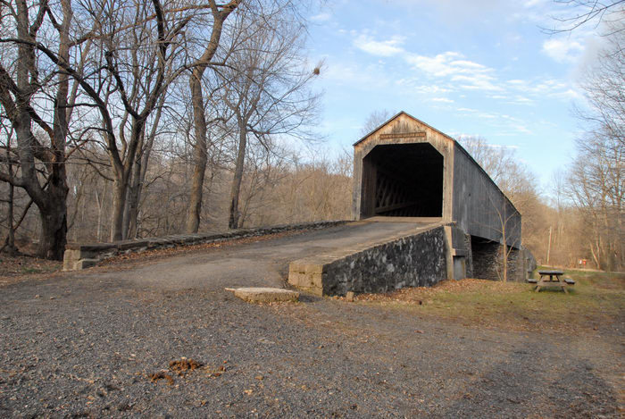 bridge, path, road, trees