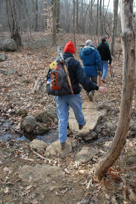 NJ Trail Association, people, rock crossing, stream, trail, trail maintenance, water