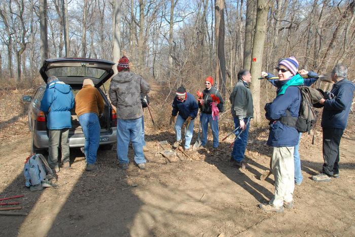 NJ Trail Association, car, people, trail, trail maintenance, woods