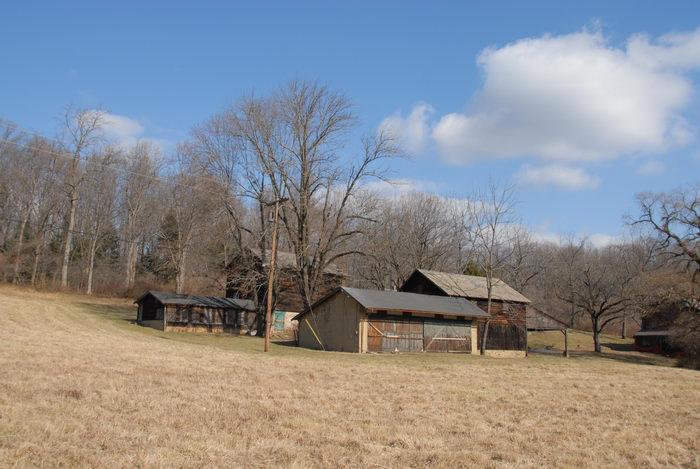 farm, field, old buildings, woods