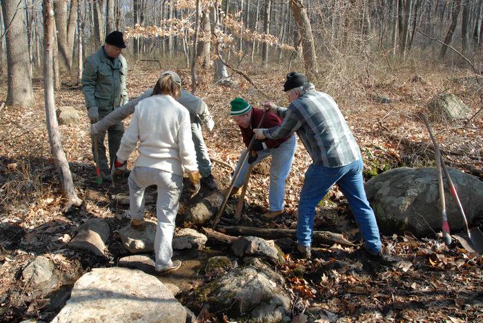 NJ Trail Association, Trail Maintenance, people, rocks, woods