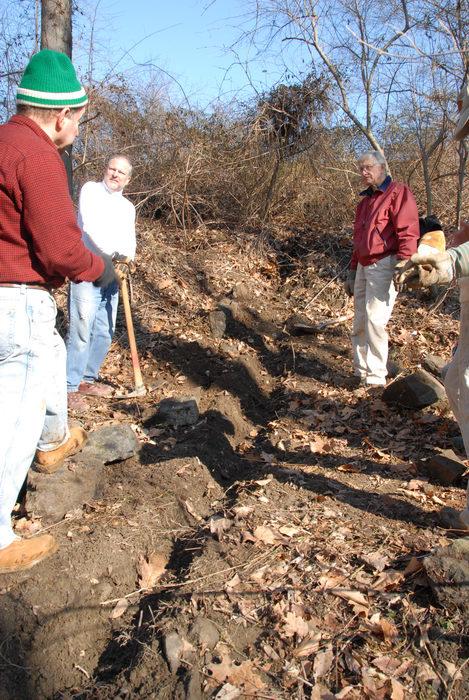 NJ Trail Association, Trail Maintenance, ditch, people, woods