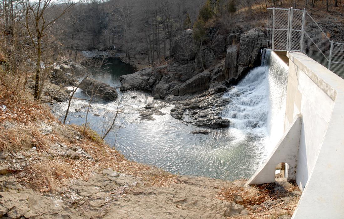 Panoramic, dam, fence, river, rocks, water, waterfall
