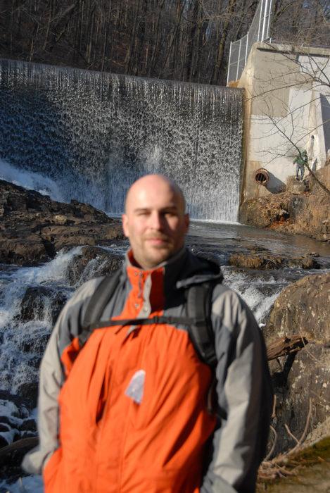 Jeff, dam, fence, rocks, water, waterfall