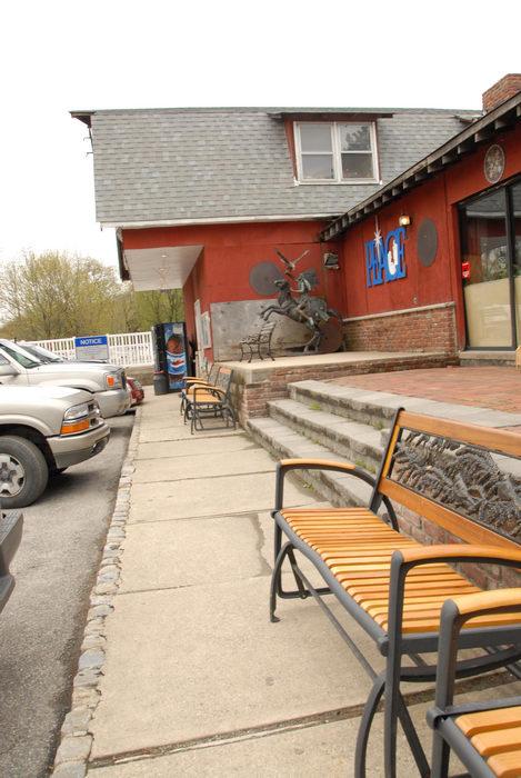 bench, building, cars, office, sidewalk