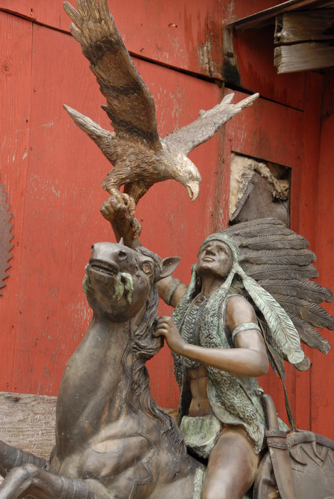 bird, horse, inative american, statue, wood carving